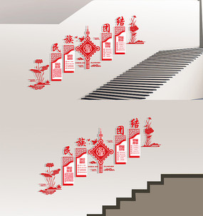 民族团结楼梯走廊布置文化墙