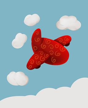 原创喜庆大红可爱卡通飞机