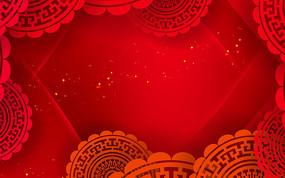 紅色剪紙花朵紅色大氣背景