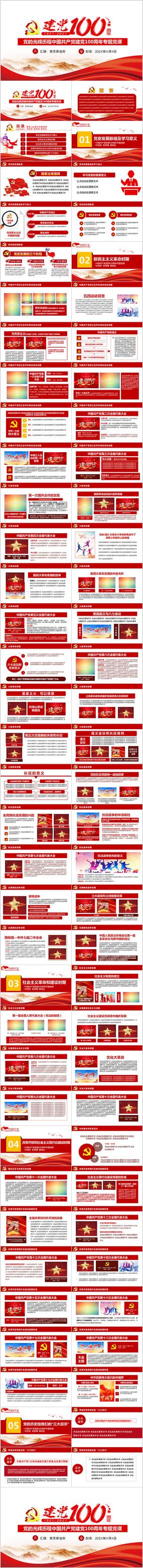 建党100周年光辉的历史党史党课PPT