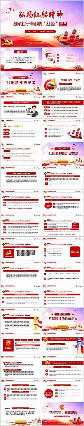 學習紅色基因弘揚紅船精神專題黨課PPT
