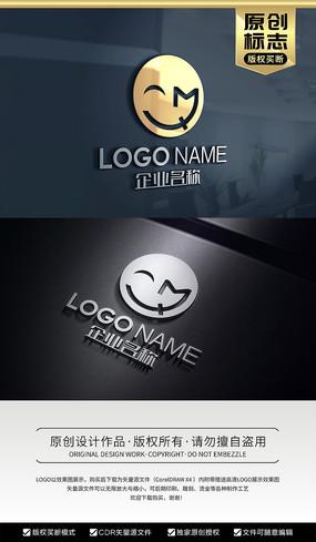 MQ字母标志QM字母标志笑脸标志