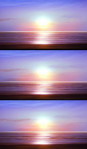 粉色夕阳大海动态背景视频素材