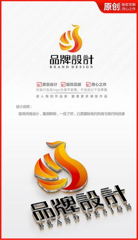 立体飞鸟太阳凤凰logo商标志设计