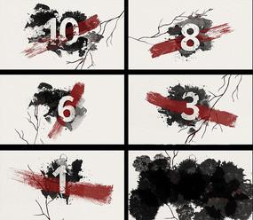 水墨风格10秒倒计时视频素材