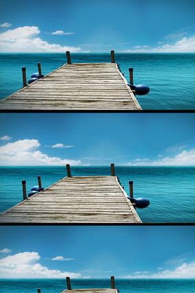 大海蓝天白云木桥合成视频素材