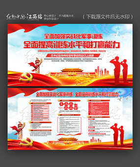 大气中央军委军事训练会议展板设计