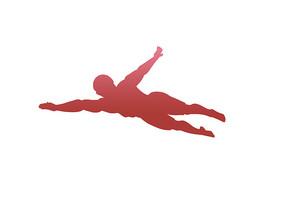 原创手绘人物剪影男子游泳比赛插画