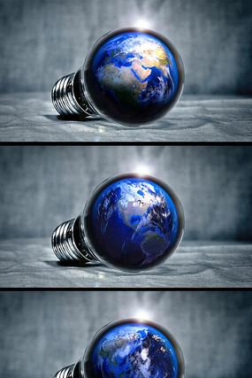 灯泡中的地球特效视频素材