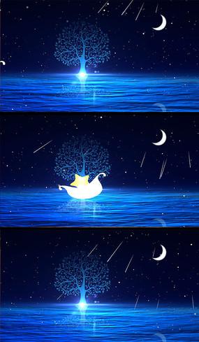 六一儿童节舞台背景月亮小船