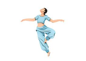 原创手绘扁平肌理风格女子跳舞表演插画