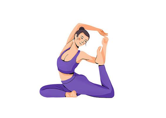 原创手绘扁平肌理风格女子瑜伽运动插画