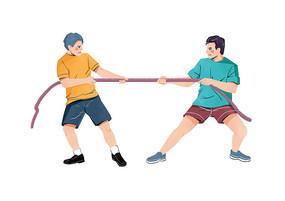 原创手绘扁平肌理双人男子拔河比赛插画