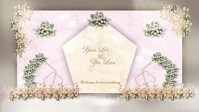 粉色大理石婚礼背景效果图