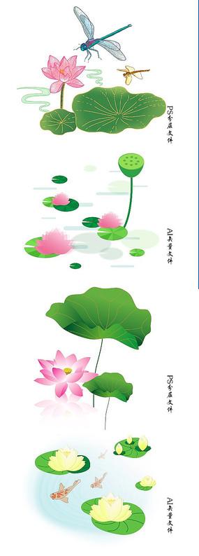 荷花素材莲花背景元素