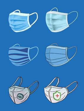 一次性口罩素材配戴医用防疫N95口罩元素