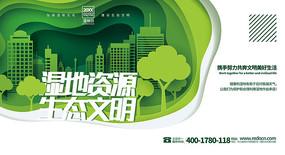 綠色大氣2.2濕地日背景板設計