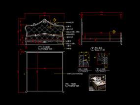美式床CAD雕刻软包床家具图库