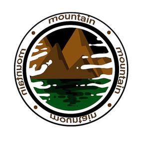 山水圆形标志图案