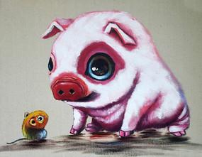 手绘中国十二生肖猪鼠油画图