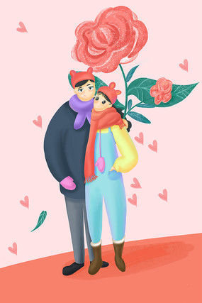 情人節情侶玫瑰花插畫