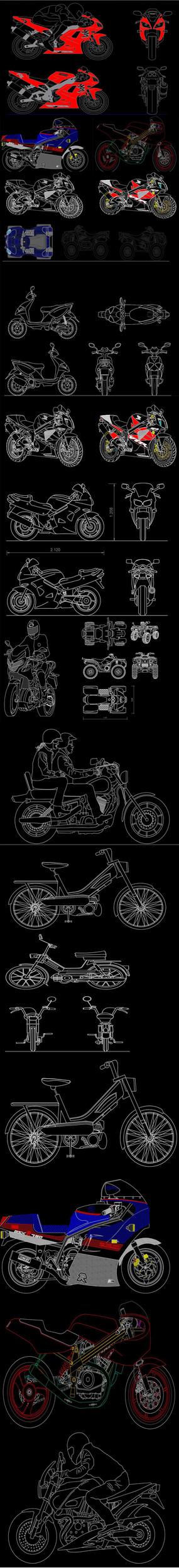 炫彩摩托車CAD圖庫