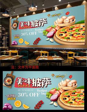 美食披萨背景墙