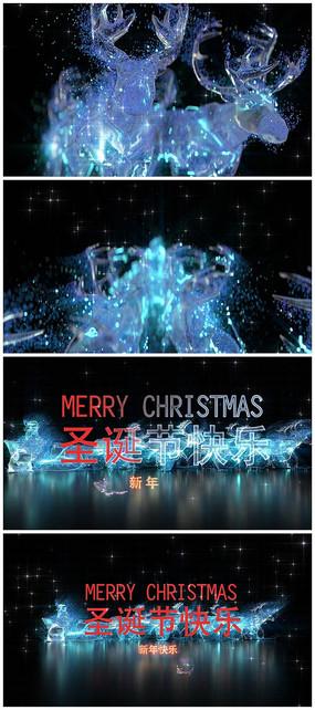 唯美圣诞鹿展示片头Logo视频模板