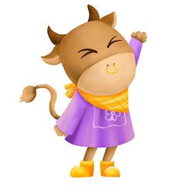原创元素打招呼的小牛
