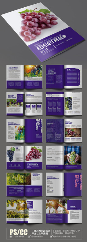 精美大气水果葡萄画册模板设计