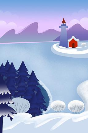 蓝色冬季清新海边雪景十二节气之大寒插画