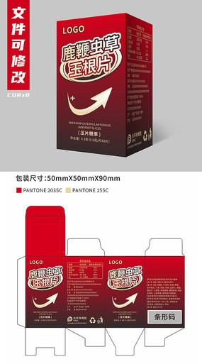 鹿鞭蟲草玉根片保健品包裝設計