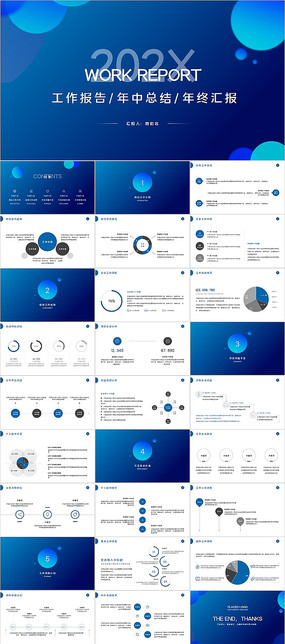 圓形工作總結年終述職報告PPT模板