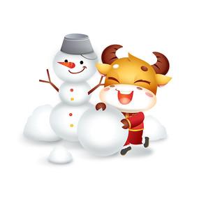 金牛堆雪人卡通