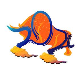 2021牛年数字变形斗牛图案