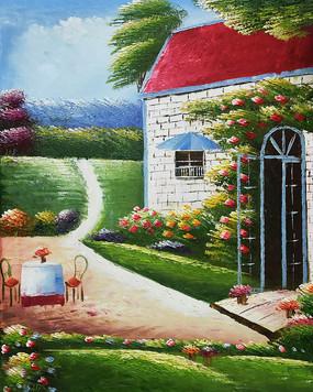 穿厚会欧式公园别墅风景油画背景墙