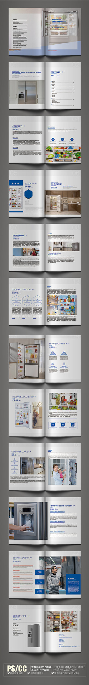 高端产品介绍冰箱画册模板设计