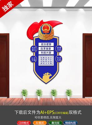 蓝色警局文化标语文化墙