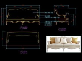 欧式家具CAD欧式沙发布艺沙发图库