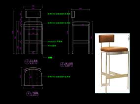 轻奢椅子CAD五金家具吧椅图库