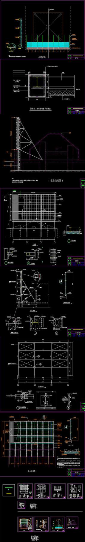 三面翻广告牌CAD施工图