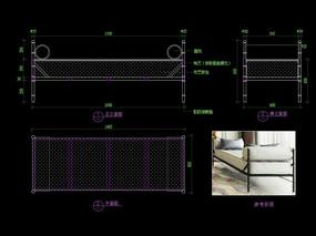 五金家具CAD床尾凳长凳家具图库