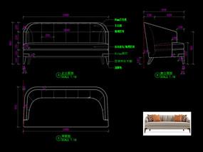 现代软包沙发CAD现代沙发家具图库