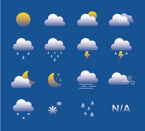 简约时尚渐变天气预报图标