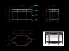 美式輕奢玄關桌CAD裝飾臺家具圖庫