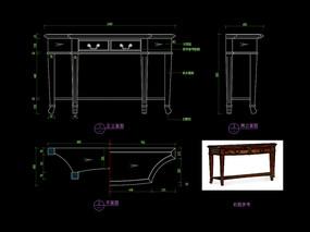 美式玄關桌CAD書桌裝飾臺家具圖庫