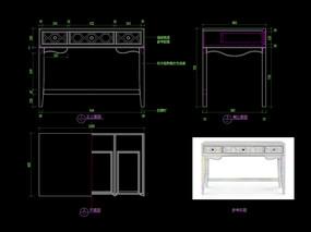 歐式書桌CAD梳妝臺玄關桌圖庫