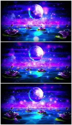 唯美水面月亮荷花明月舞臺循環led視頻素材