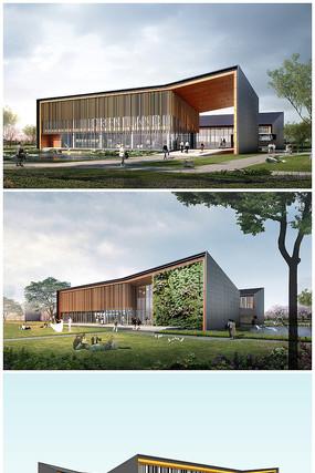 游客接待中心建筑设计方案CAD图纸和模型