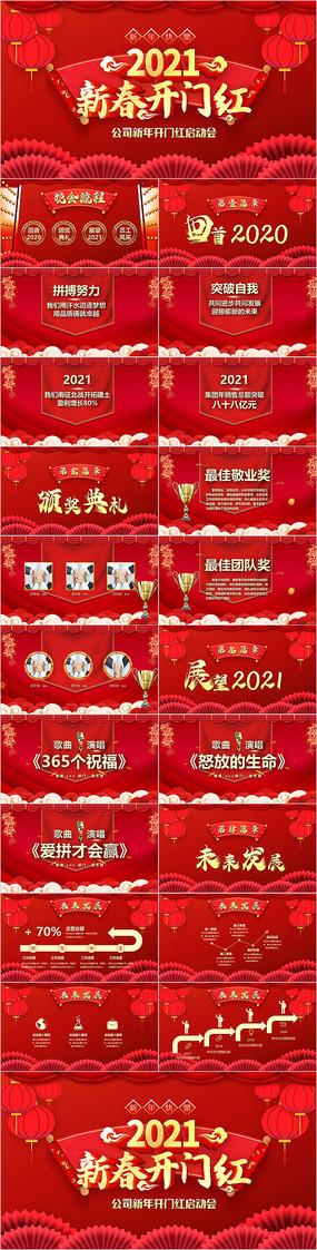 中国风2021牛年开门红新年公司年会PPT